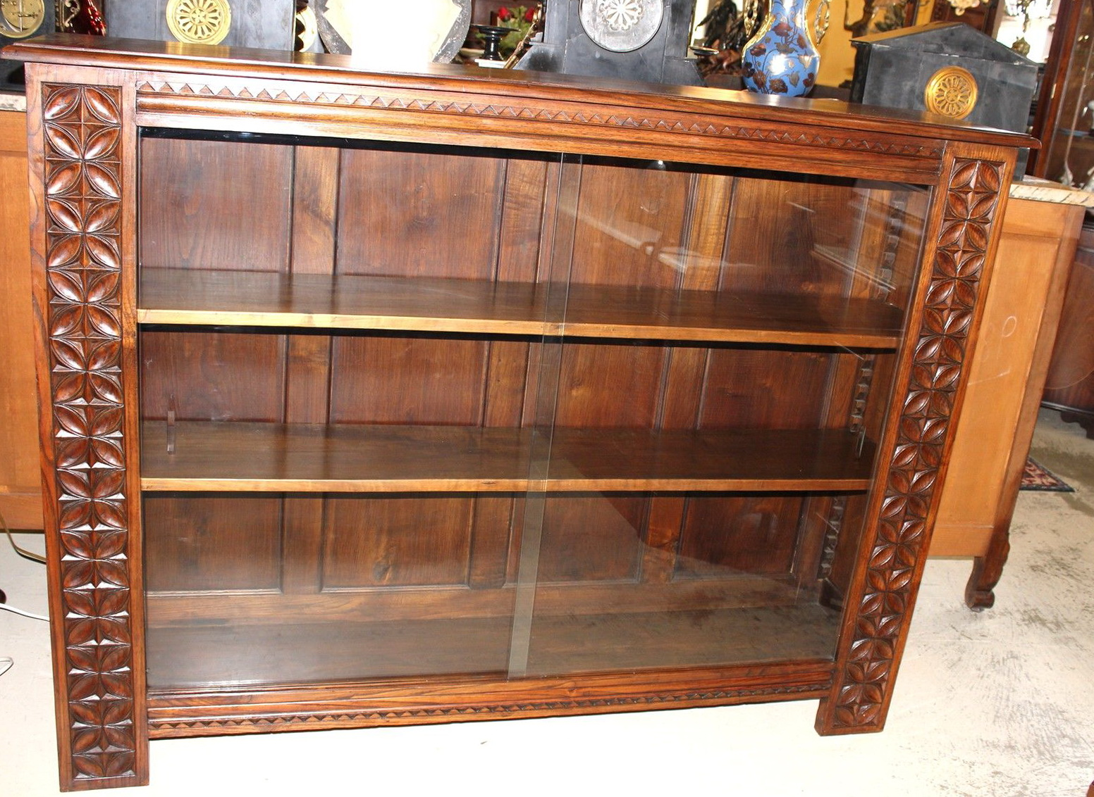 Antique Bookshelves With Glass Doors