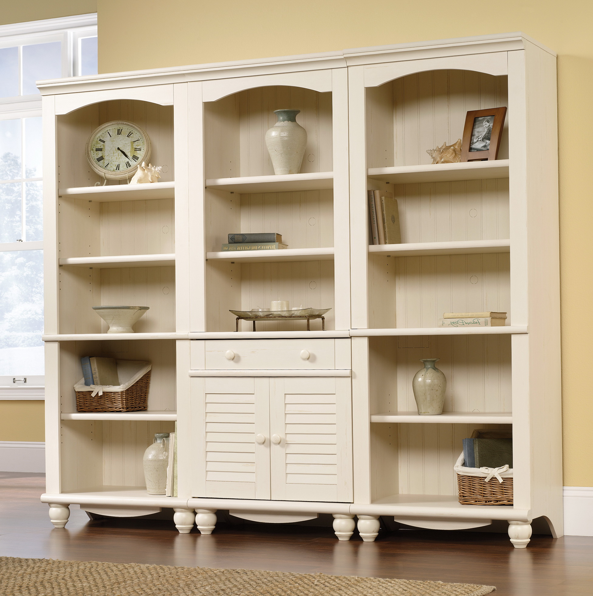 Antique White Bookcase With Doors Home Design Ideas