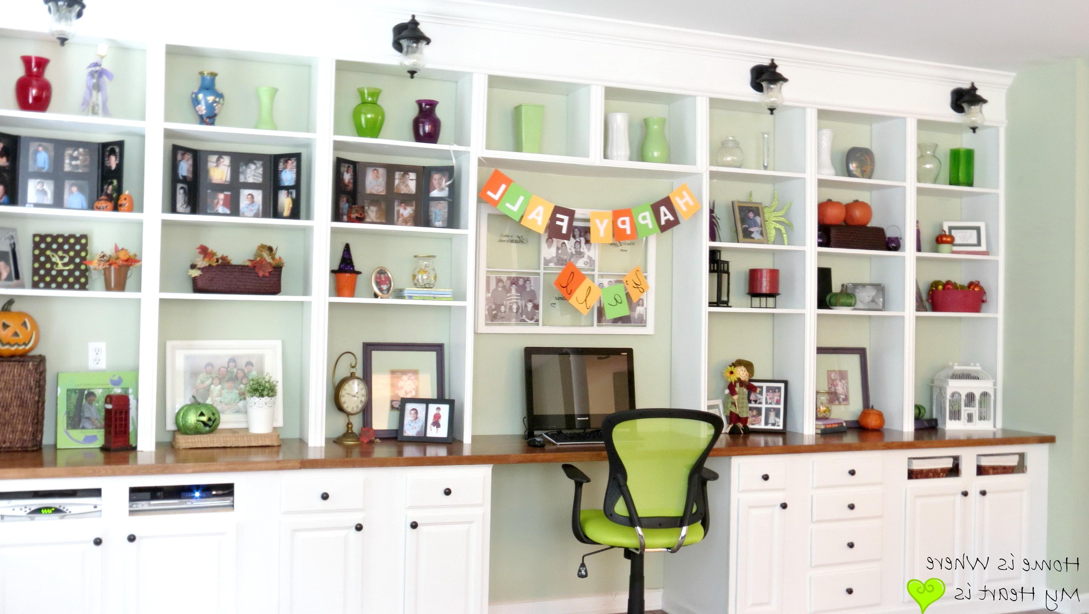 Built In Bookshelf With Desk