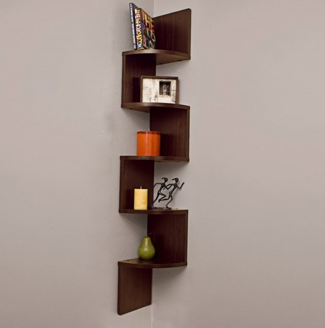 Corner Wall Mount Bookshelf