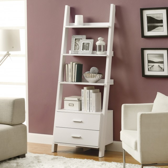 Ladder Bookshelf White