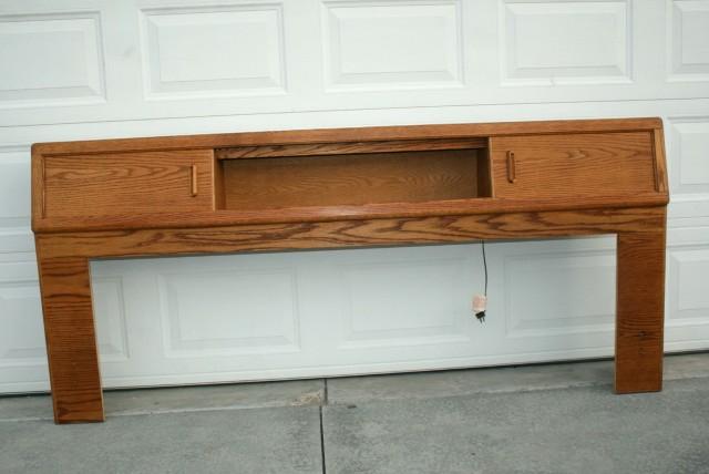 Oak Bookcase Headboard King