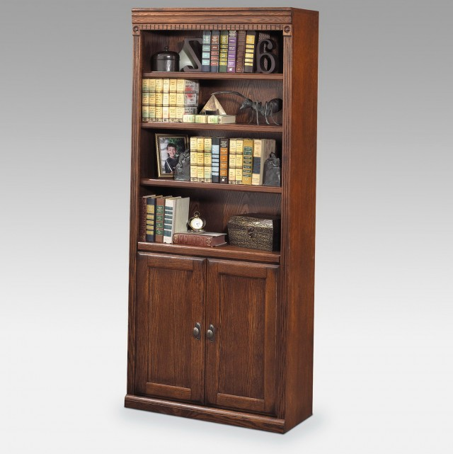 Solid Wood Bookshelf With Doors