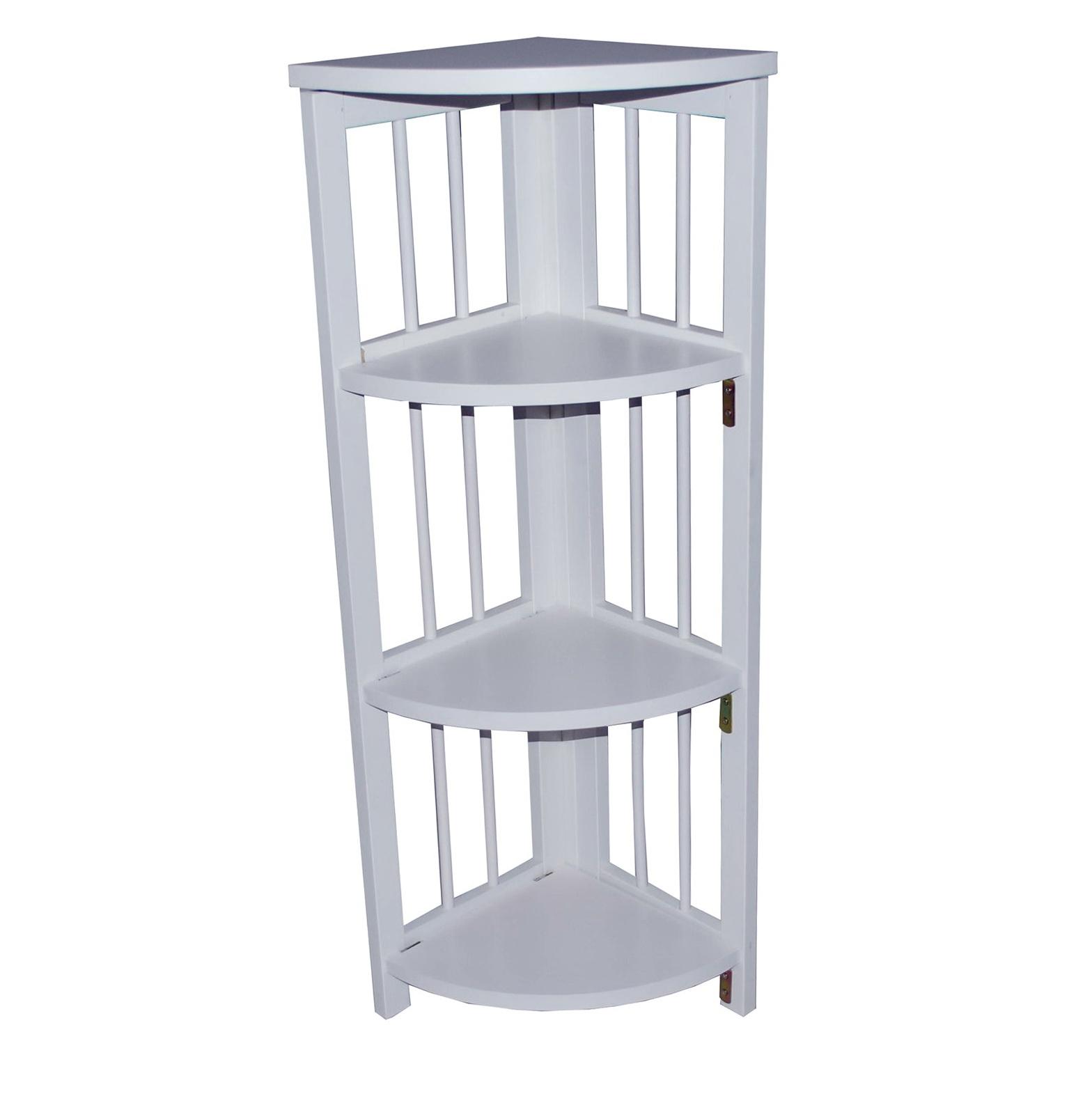 Tall White Corner Bookcase