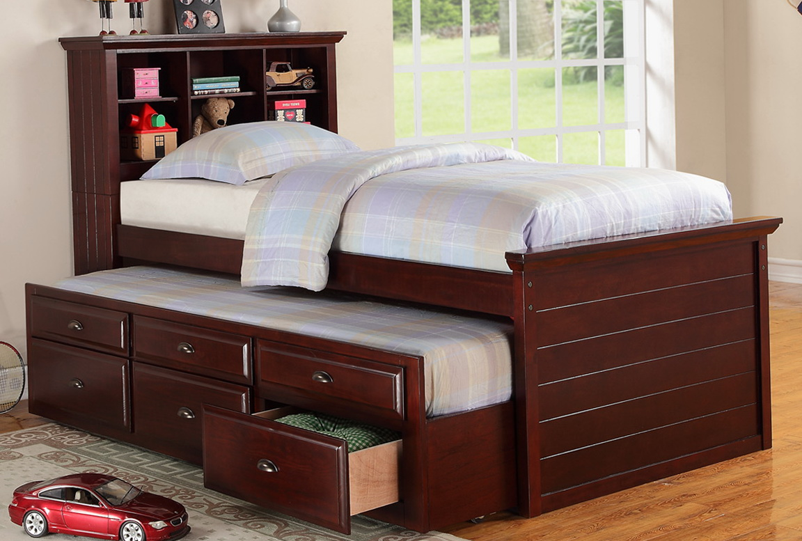 Twin Bookcase Headboard With Trundle