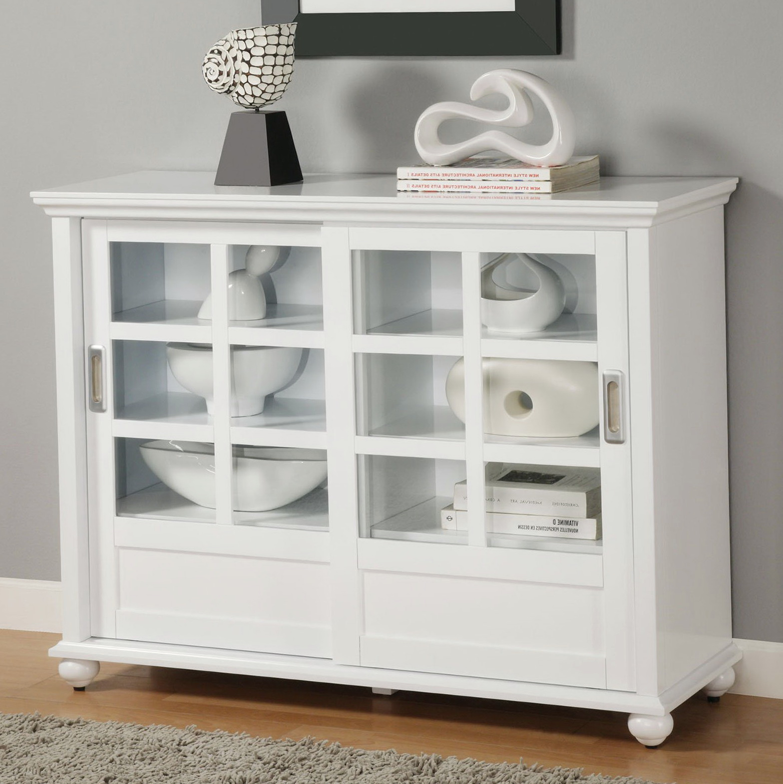 White Bookshelves With Glass Doors