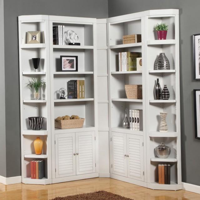 White Corner Bookcase With Doors