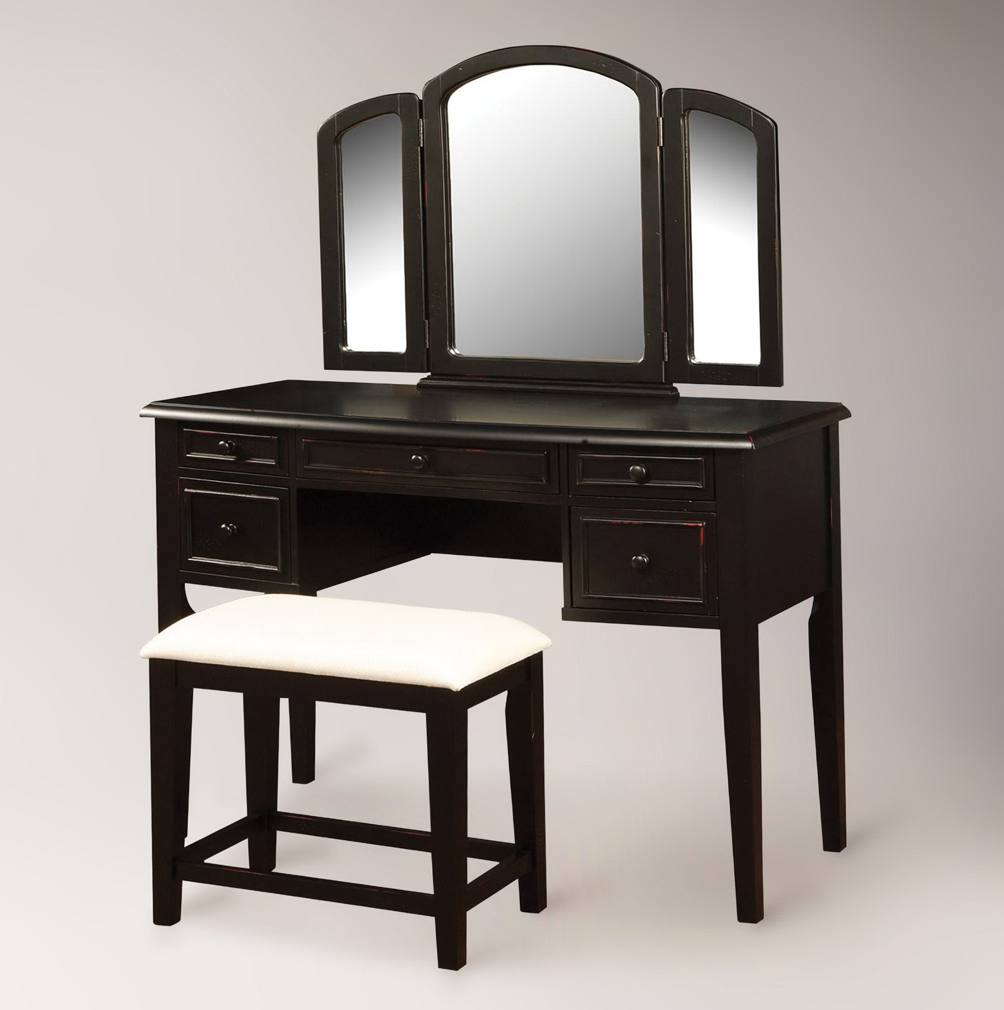 Black vanity dresser with mirror bestdressers 2017 for Black makeup table with mirror