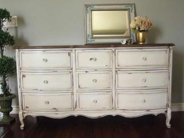 distressed antique white dresser