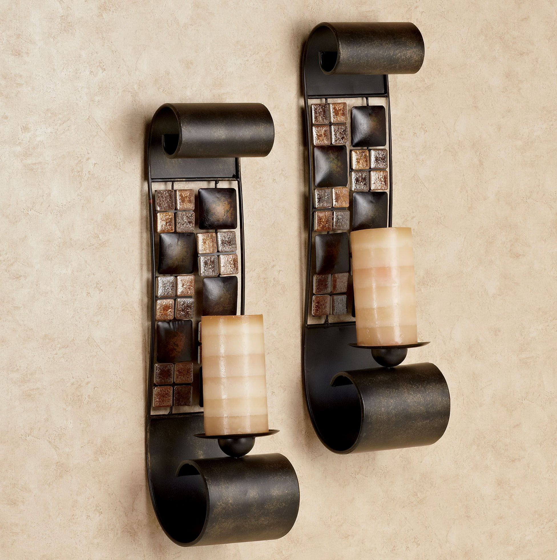 Mosaic Wall Sconce Candle Holders