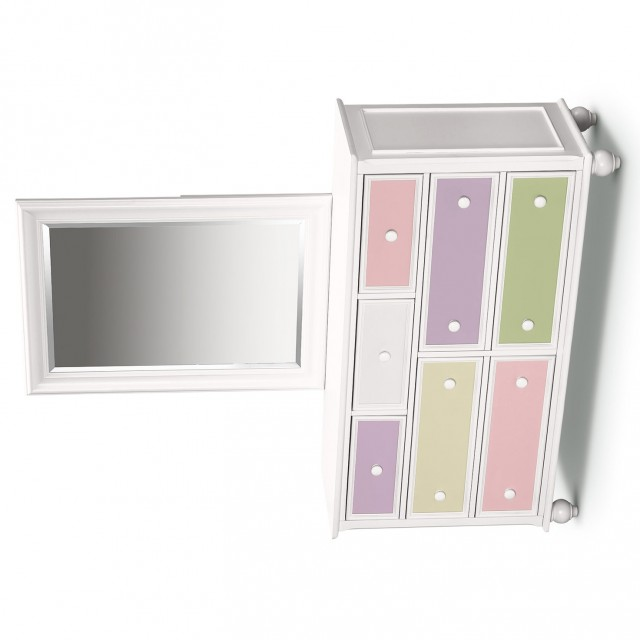 White Kids Dresser With Mirror
