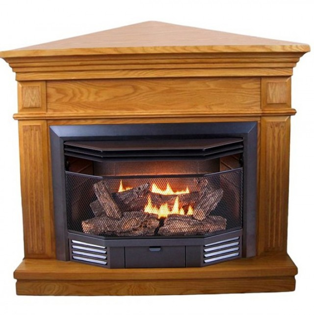 Gas Fireplace Ventless Corner