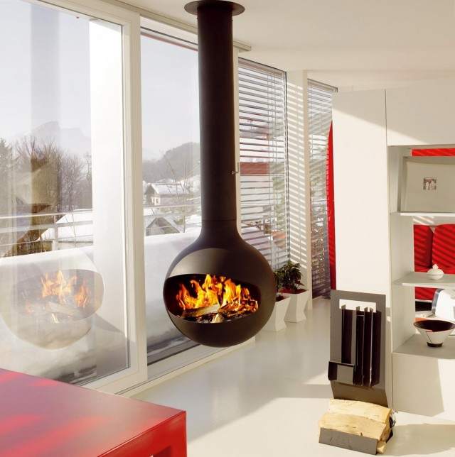 Gas Stove Inside Fireplace
