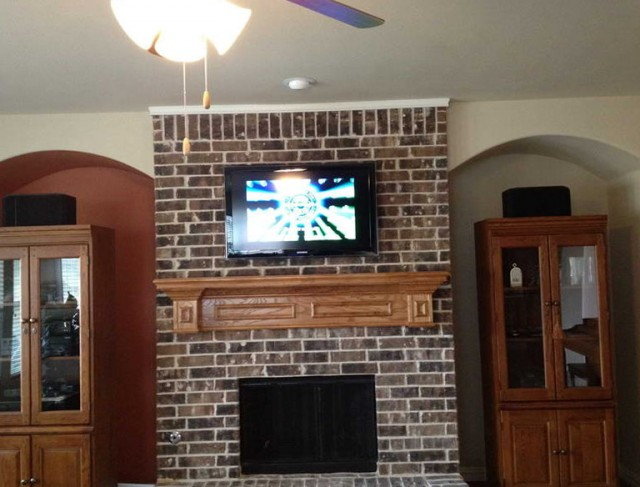 whitewash red brick fireplace home design ideas. Black Bedroom Furniture Sets. Home Design Ideas