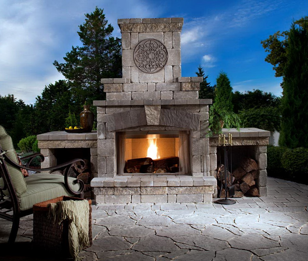 Outdoor fireplace designs plans home design ideas for House plans with fireplace