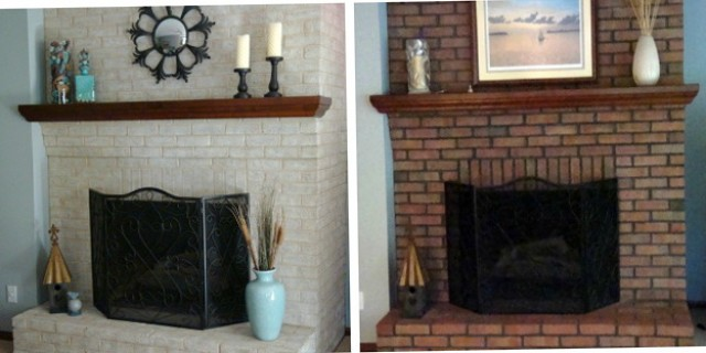 Painting A Brick Fireplace Before And After Pictures