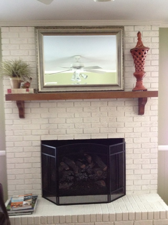 Darker Whitewash Technique On Brick Wall Fireplace Using Two Coats ... : painted fireplace brick : Painted Fireplace