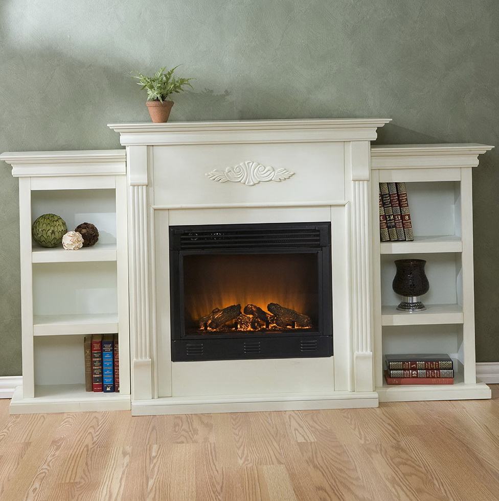 Permalink to White Electric Fireplace With Bookshelves