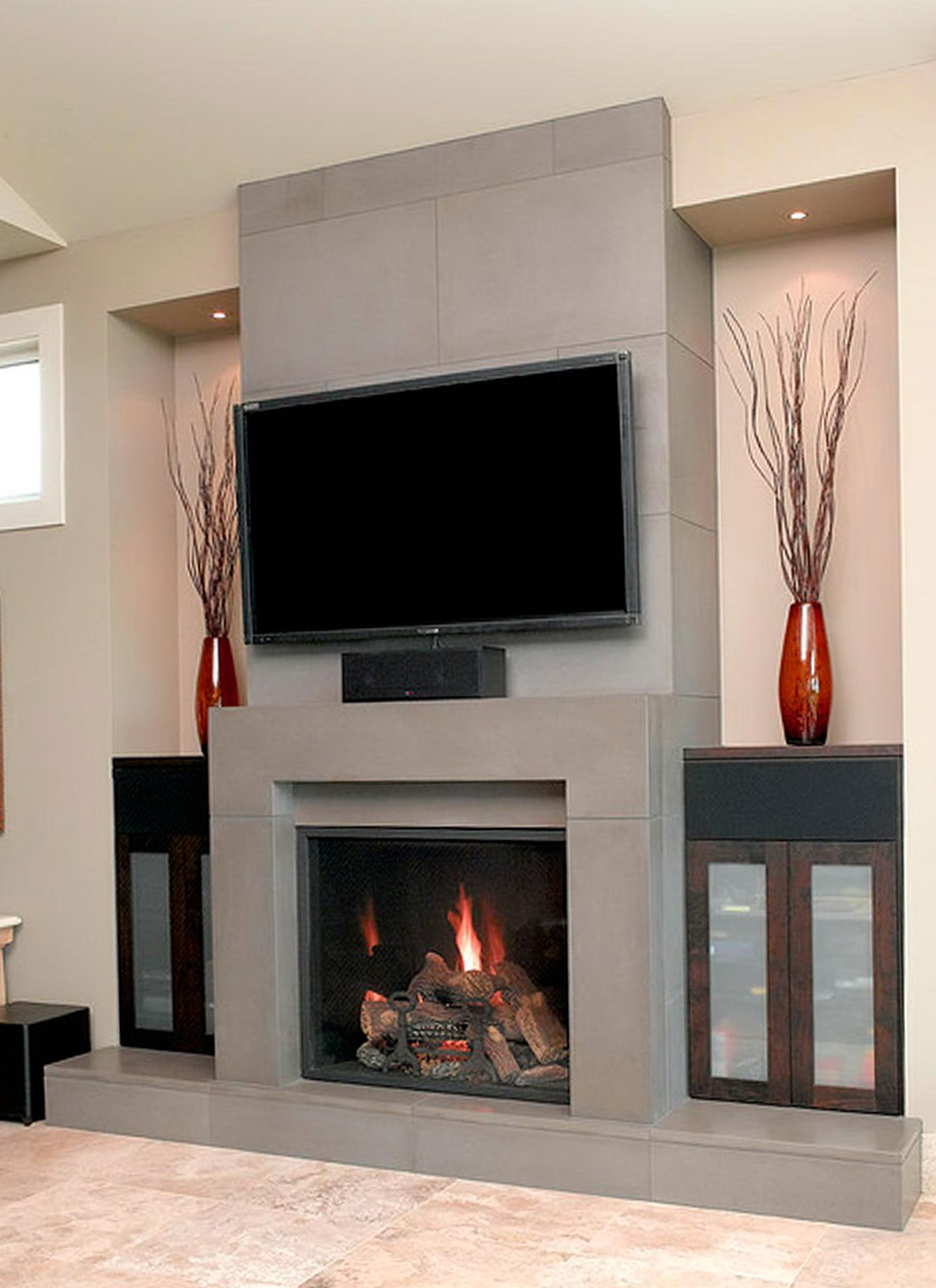 Contemporary Fireplace Designs With Tv Above Home Design