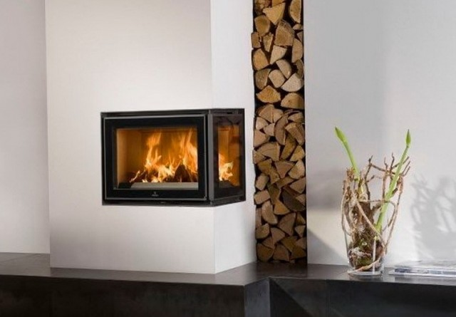 how to build a corner wood burning fireplace