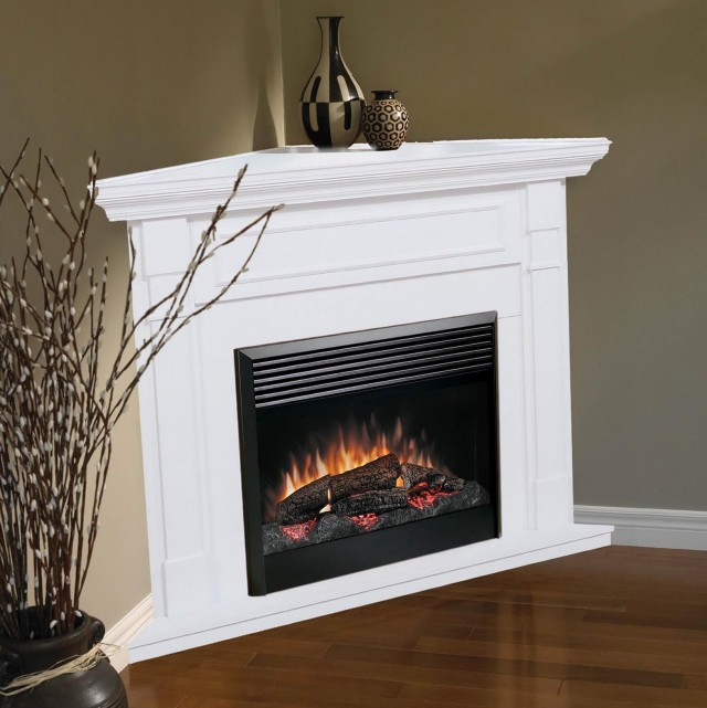 Electric Fireplace Corner White