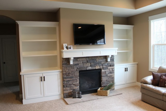 Built Ins Around Fireplace Vaulted Ceiling Home Design Ideas