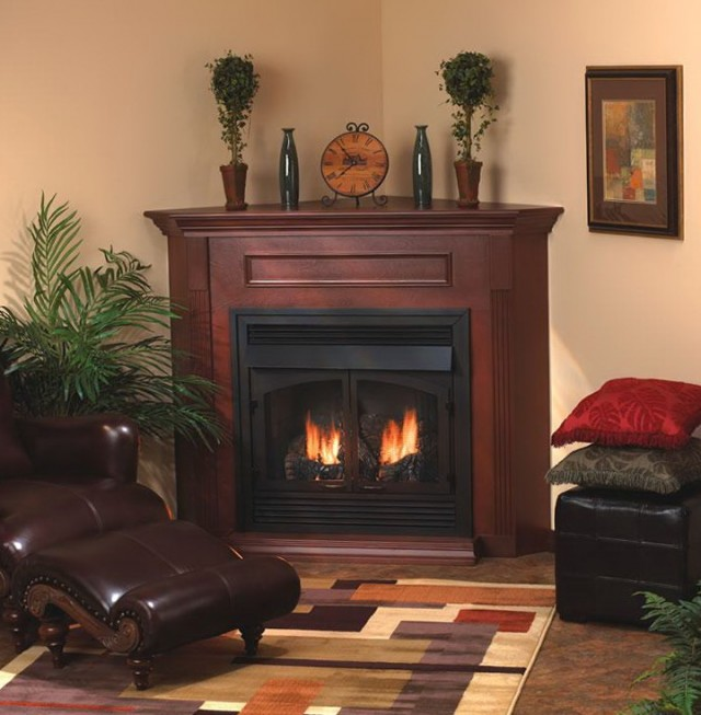 Gas Fireplace Corner Unit
