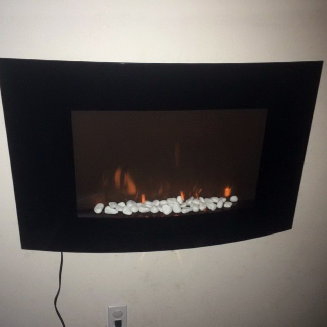 Large 1500w Heat Adjustable Electric Wall Mount Fireplace Heater With Glass Xl