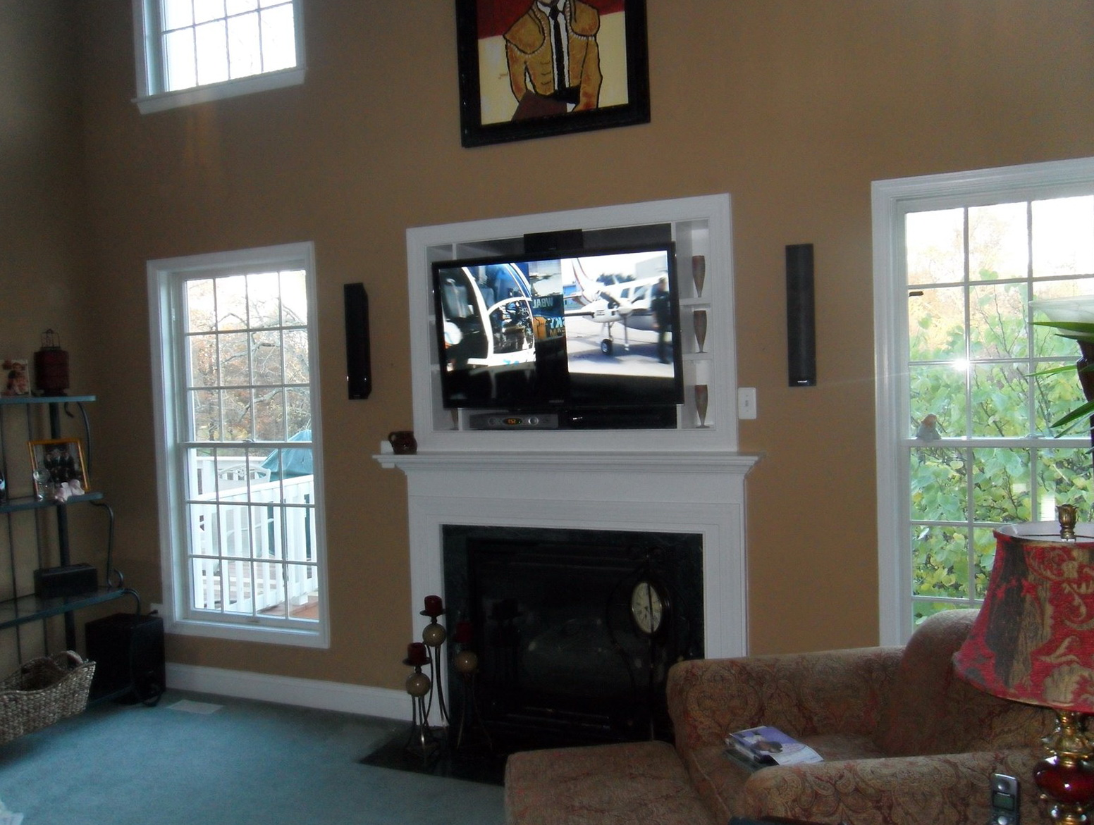 superior where to put cable box with tv over fireplace part 13