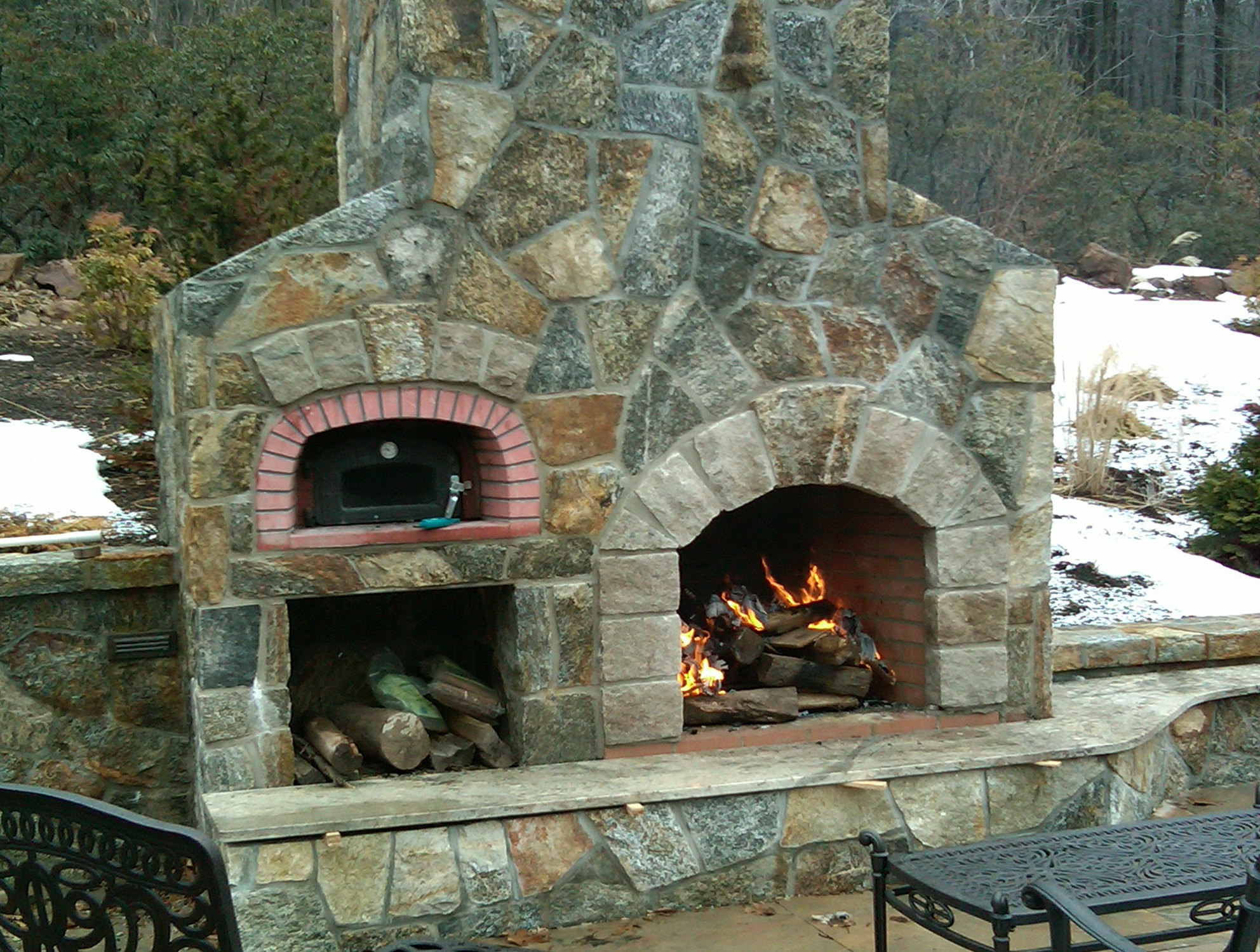 Outdoor Fireplace With Pizza Oven Above Home Design Ideas