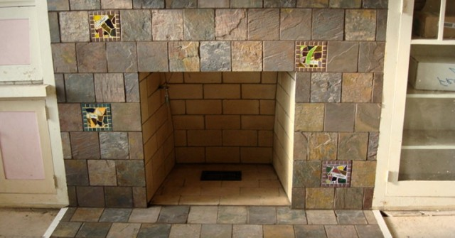 Slate Tile Fireplace Hearth Home Design Ideas
