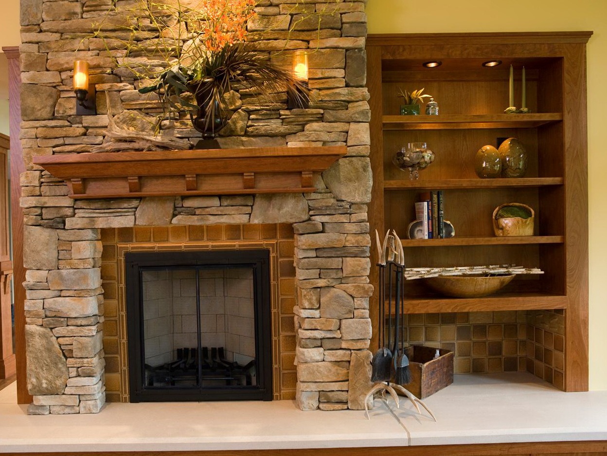 Stacked Stone Fireplaces With Bookshelves Home Design Ideas