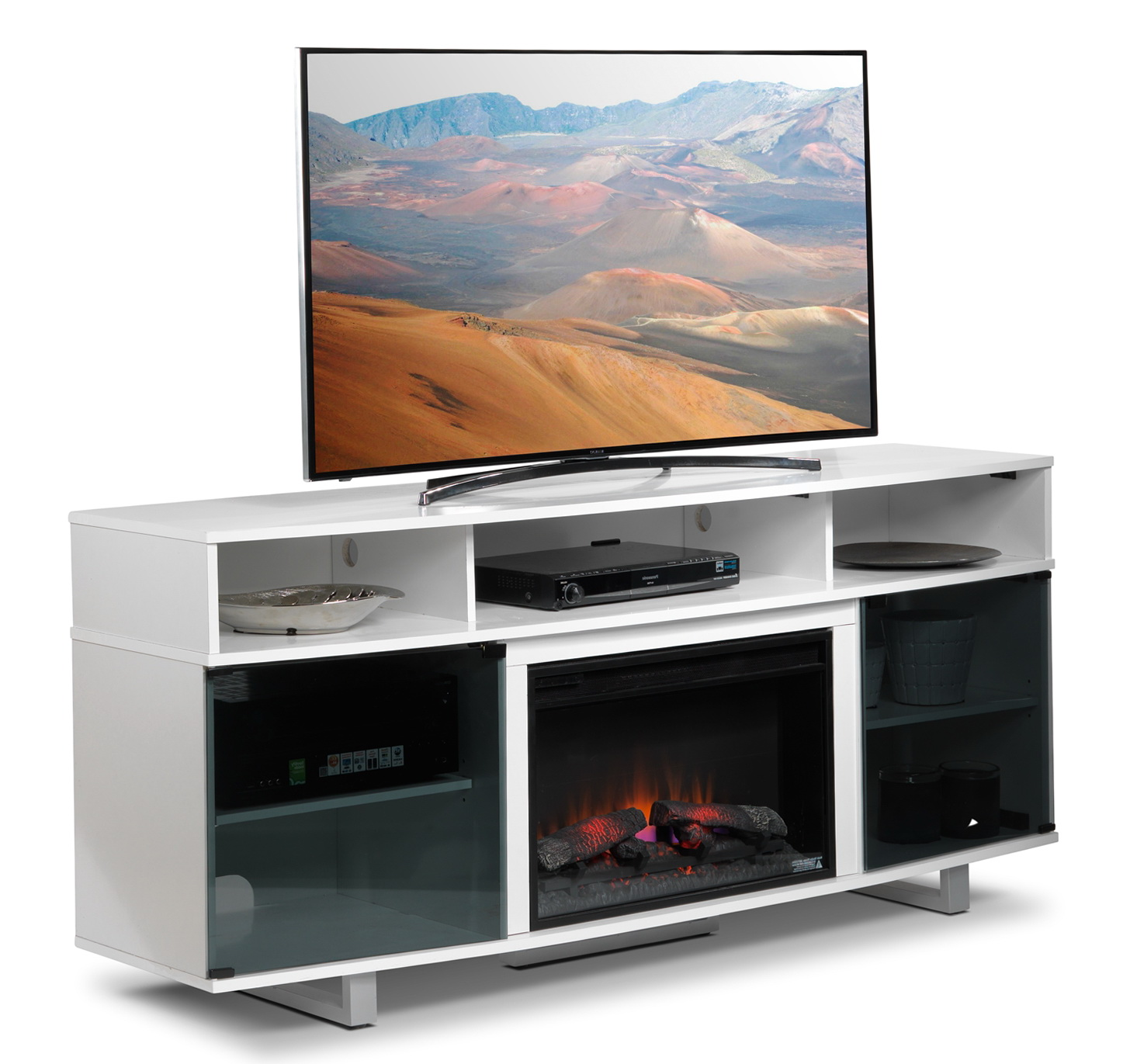 contemporary fireplace white stylish modern tv electric design stand