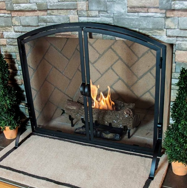 Wrought Iron Fireplace Screens With Doors