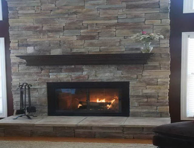 reface brick fireplace with stone home design