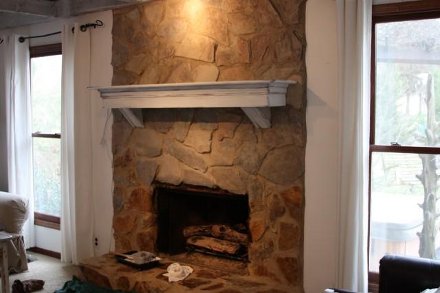 Chalk Paint Stone Fireplace