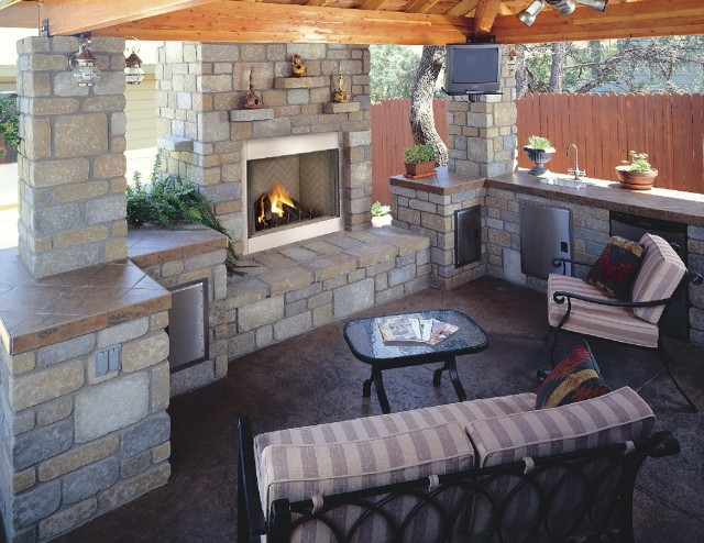 Covered Outdoor Fireplace Designs