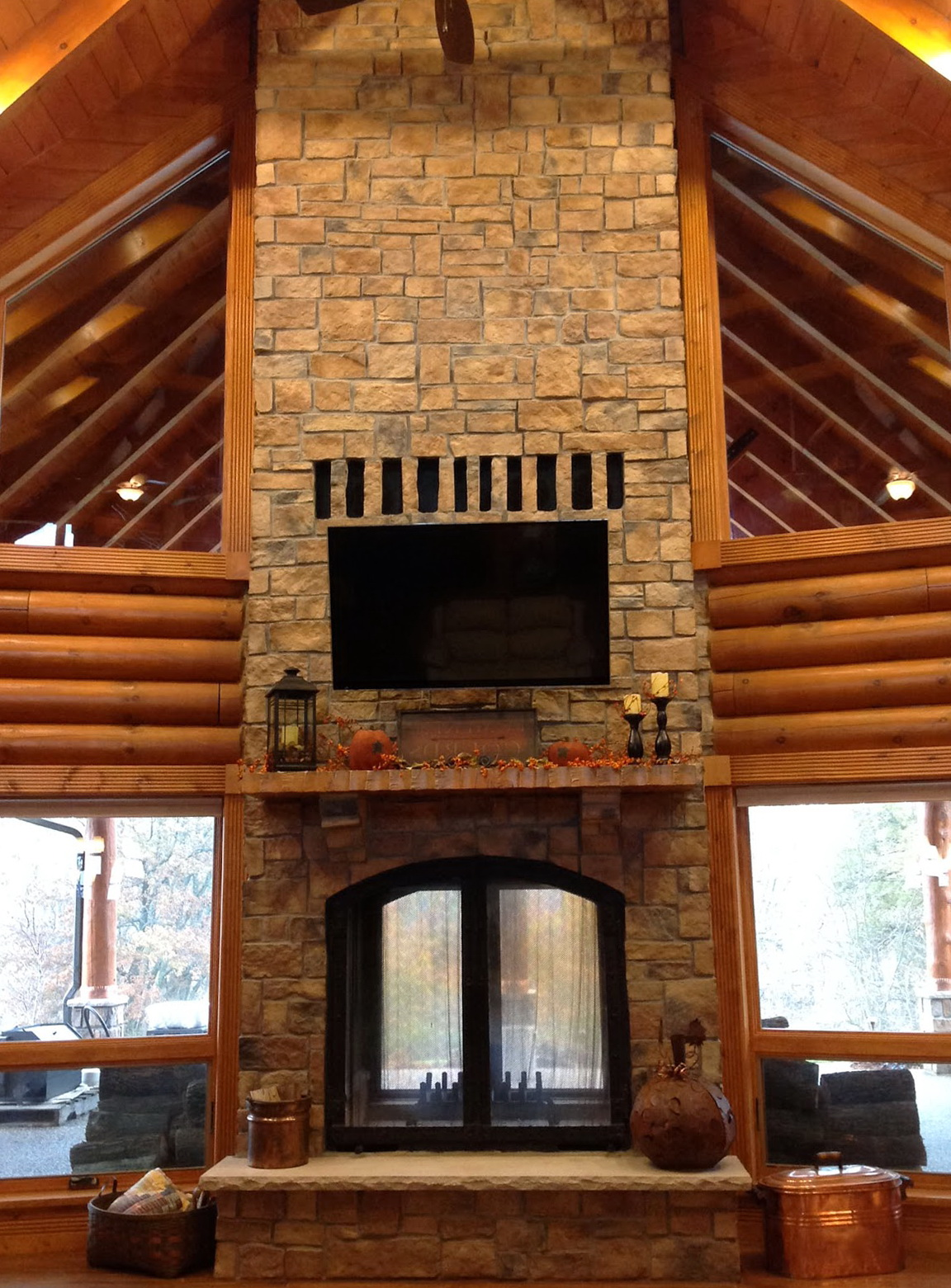 Double Sided Wood Burning Fireplace Indoor Outdoor Home Design Ideas