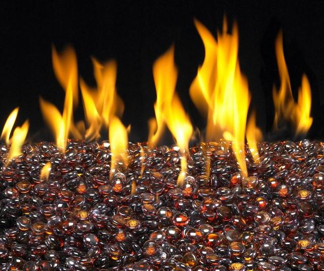 Fireplace Glass Rocks Amber 10 Lbs