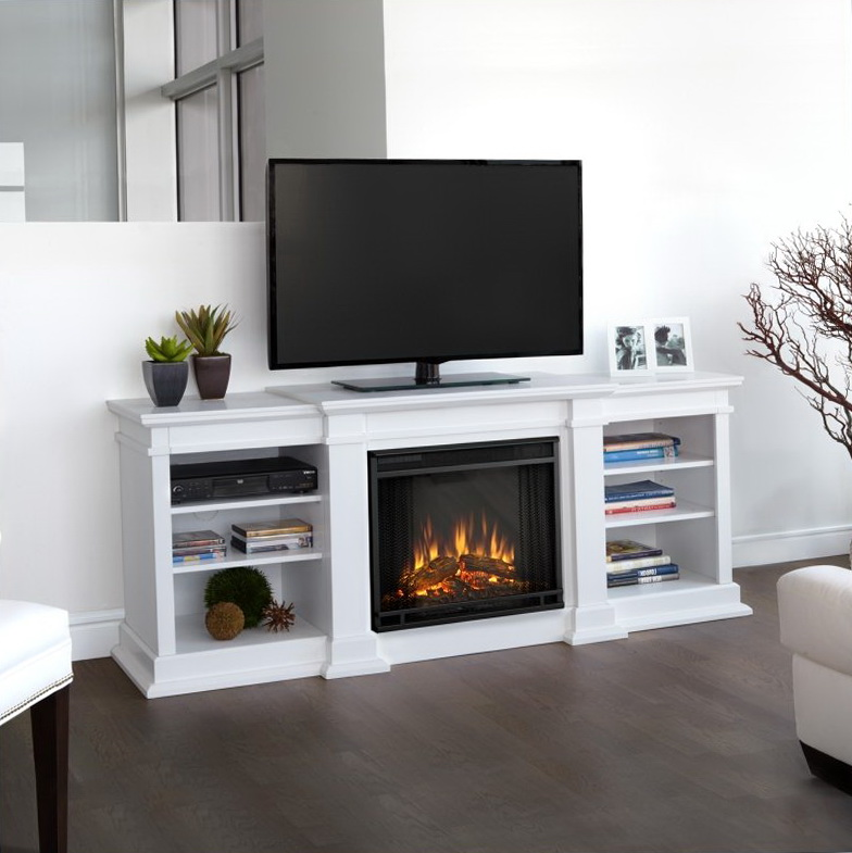 Fresno Electric Fireplace Tv Stand In White Finish Home Design Ideas