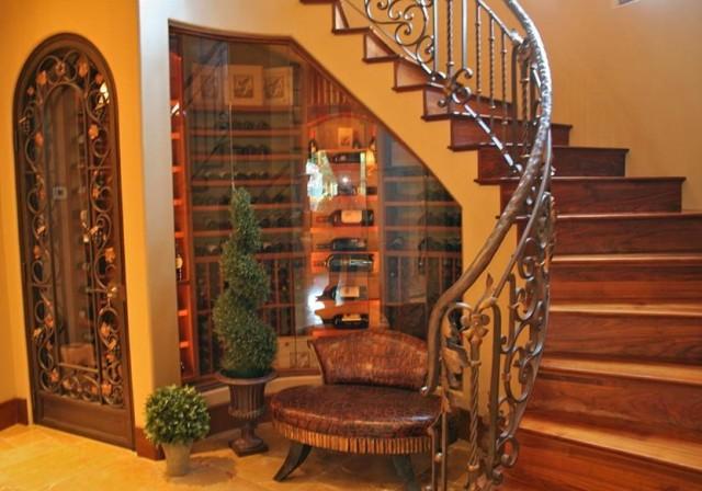 Glass Wine Cellar Under Stairs