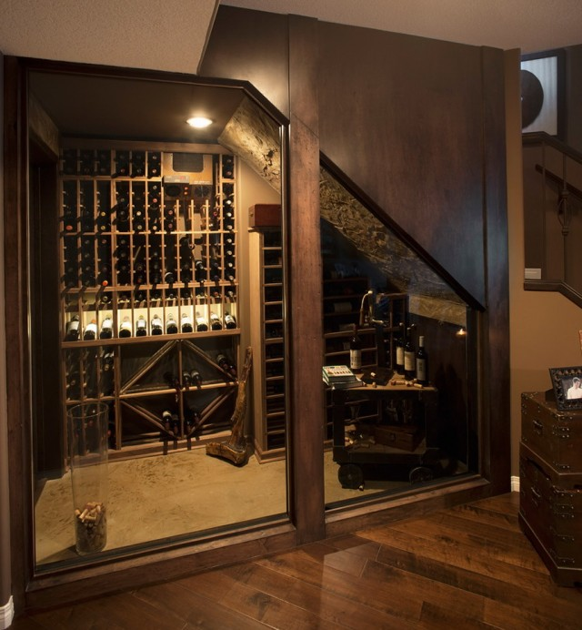 Small wine cellar under stairs home design ideas for Small basement wine cellar