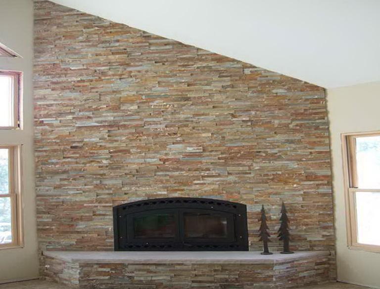 Installing Stone Veneer Over Brick Fireplace