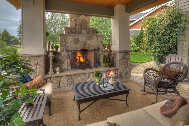 Outdoor Covered Patio With Fireplace Ideas