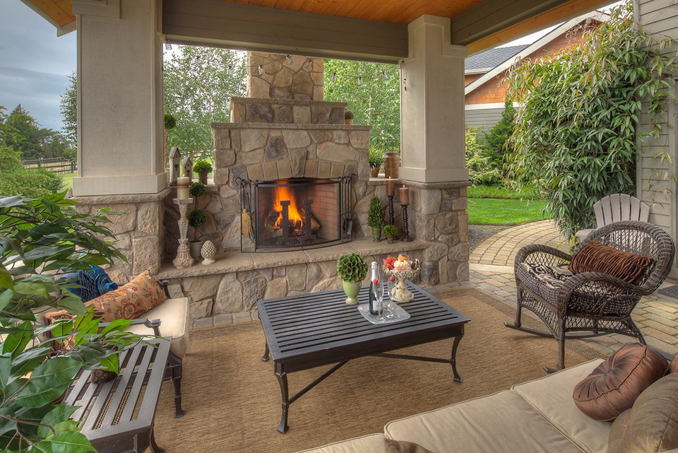 Outdoor Covered Patio With Fireplace Ideas Home Design