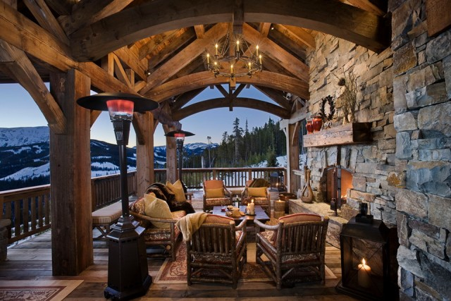 Outdoor Fireplace On Covered Deck