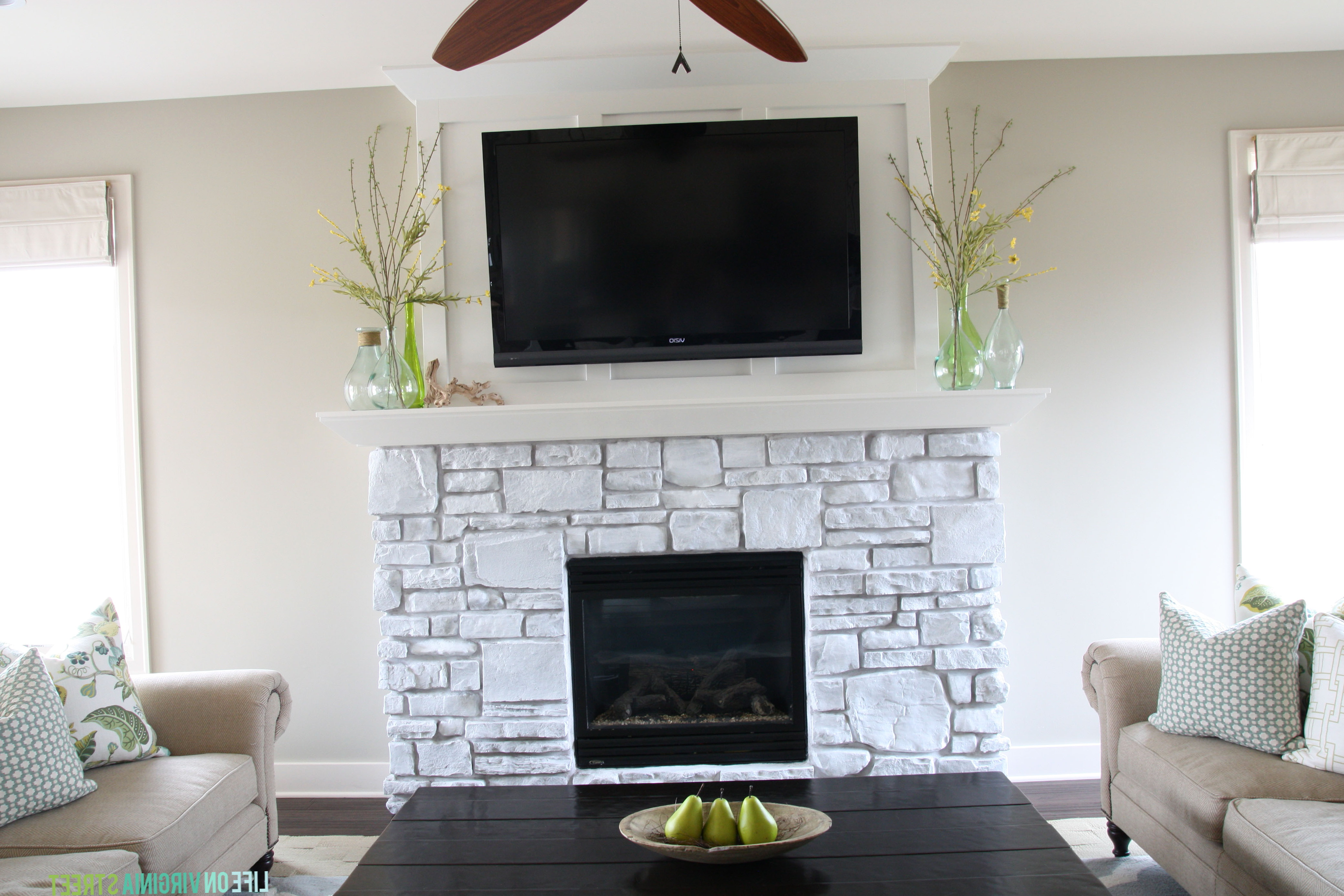 Paint Stone Fireplace White Home Design Ideas