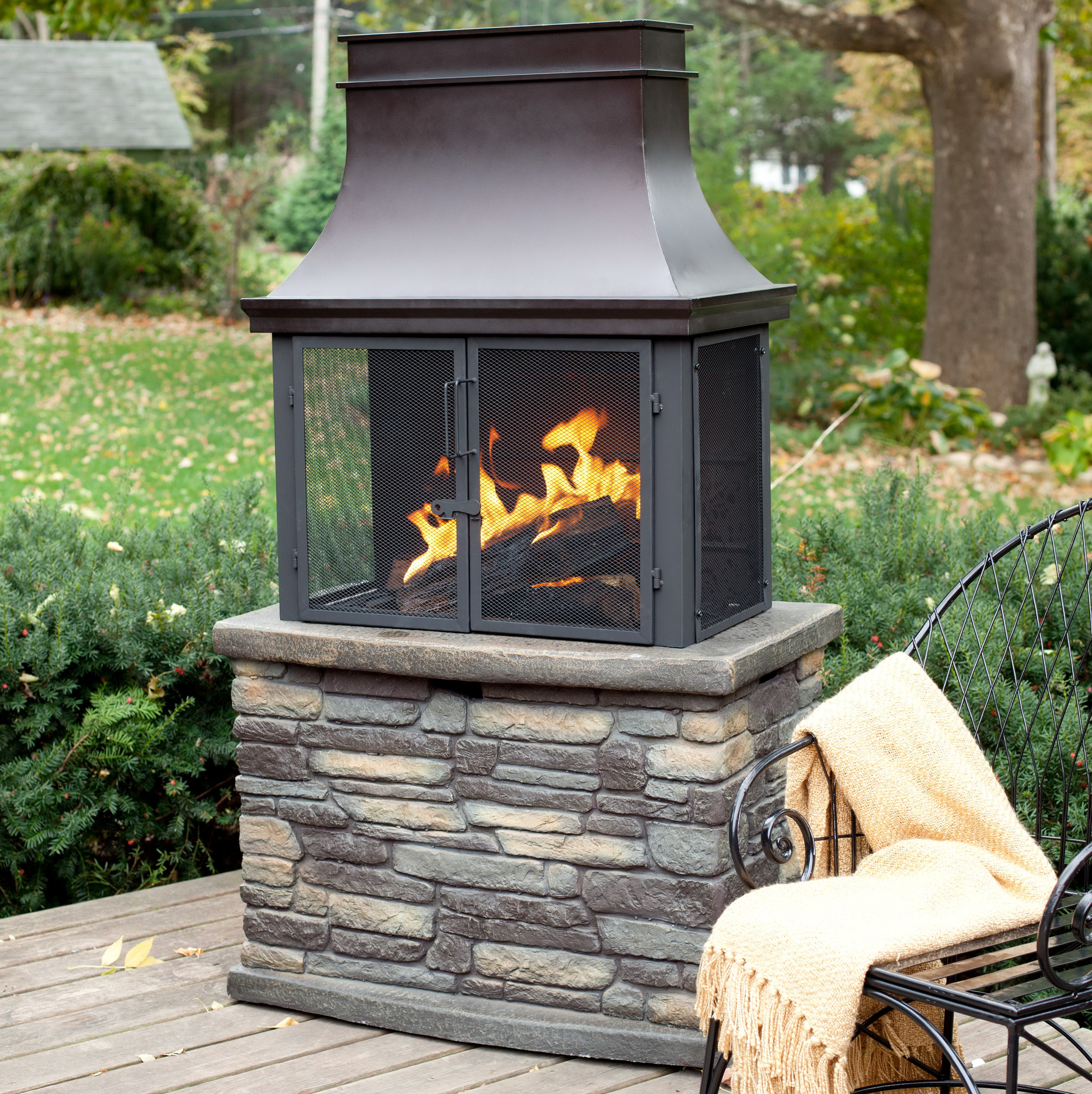 Precast outdoor fireplaces wood burning home design ideas for Wood burning stove for screened porch