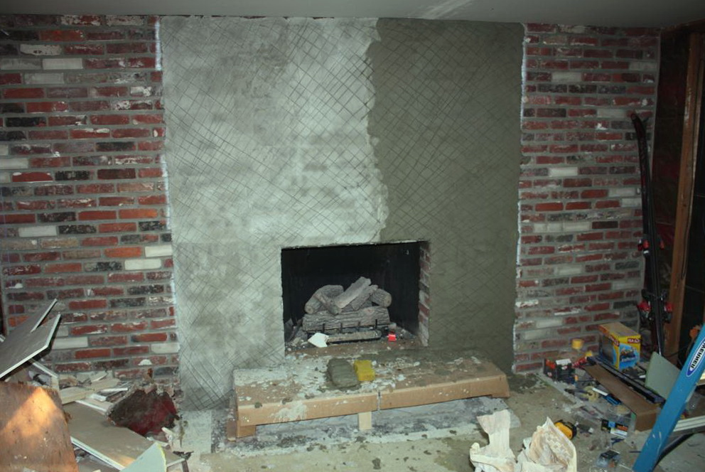 Putting Stone Over A Brick Fireplace Home Design Ideas