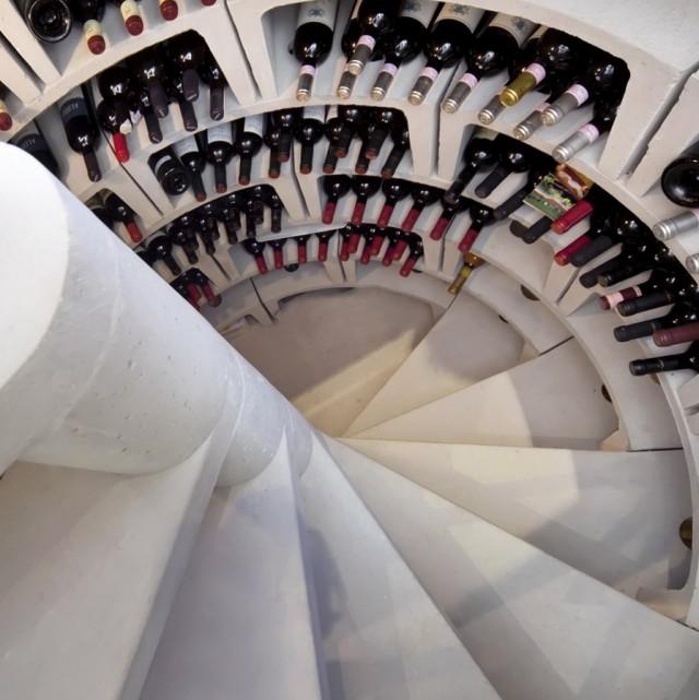 Spiral Stair Wine Cellar